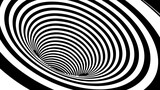 Wireframe vector striped tunnel. 3d wormhole black and white illustration.