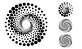 Abstract dotted vector background. Halftone effect. Spiral dotted background or icon. Yin and yang style