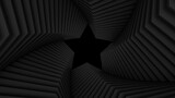 Abstract dark twisted tunnel constructed with star shape. Spiral corridor. Black smooth light structure. 3D render illustration