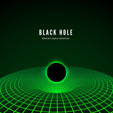 Black Hole visualisation. Illustration of deformation time and space in green colors. Destruction of matter by black hole. Vector illustration