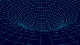 Futuristic blue funnel. Wireframe space travel tunnel. Abstract blue wormhole with surface warp. Vector illustration.