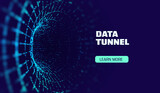 Data tunnel abstract vector background. Security tunnel protected data flow. Network security