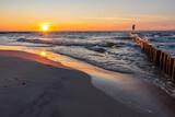 Zachód słońca Morze bałtyckie plaża Sunset Sea